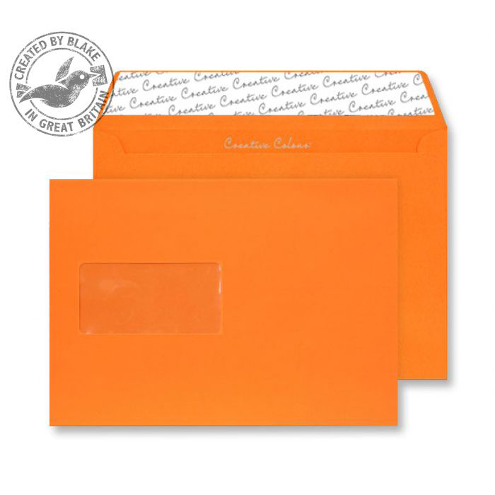 Creative Colour Pumpkin Orange P&S Wallet Window C5 162x229mm Ref 305W Pack 500 *10 Day Leadtime*