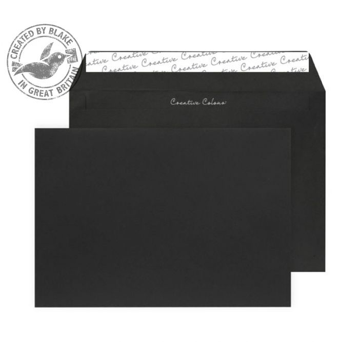 Creative Colour Jet Black Peel and Seal Wallet C5 162x229mm Ref 314 Pack 500 *10 Day Leadtime*