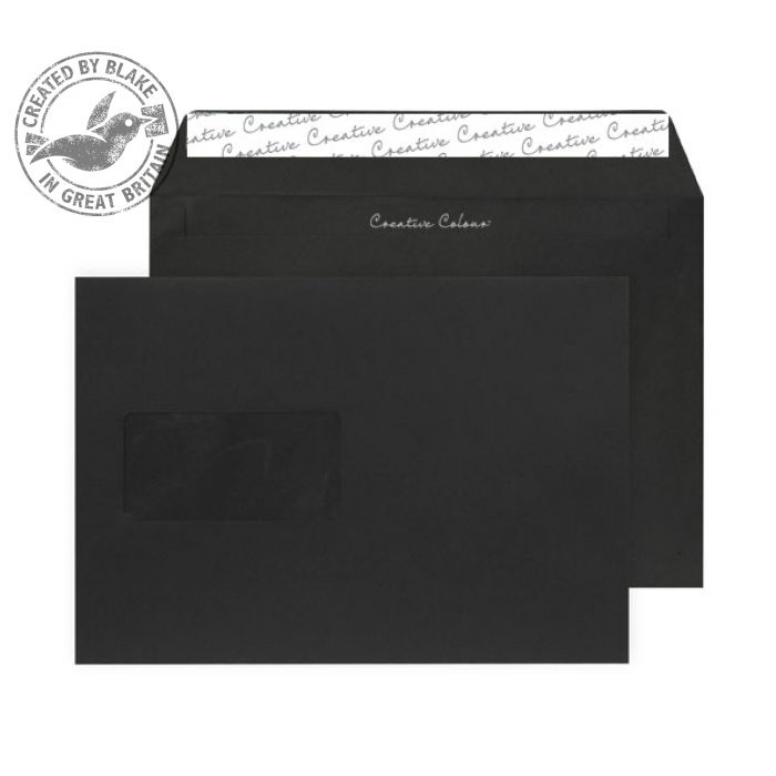 Creative Colour Wallet P&S Window Jet Black 120gsm C5 162x229mm Ref 314W Pk 500 *10 Day Leadtime*