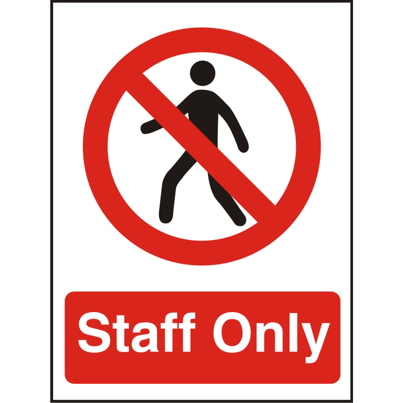 Prestige Acrylc Sign 2mmdoublesided backing 150x200 Staff Only Ref ACP085150x200 *Up to 10 Day Leadtime*