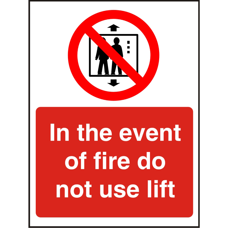 Fire PrestigeSign 2mm 150x200 In The Event Of Fire DoNot Use Lift Ref ACP103150x200 *Up to 10 Day Leadtime*