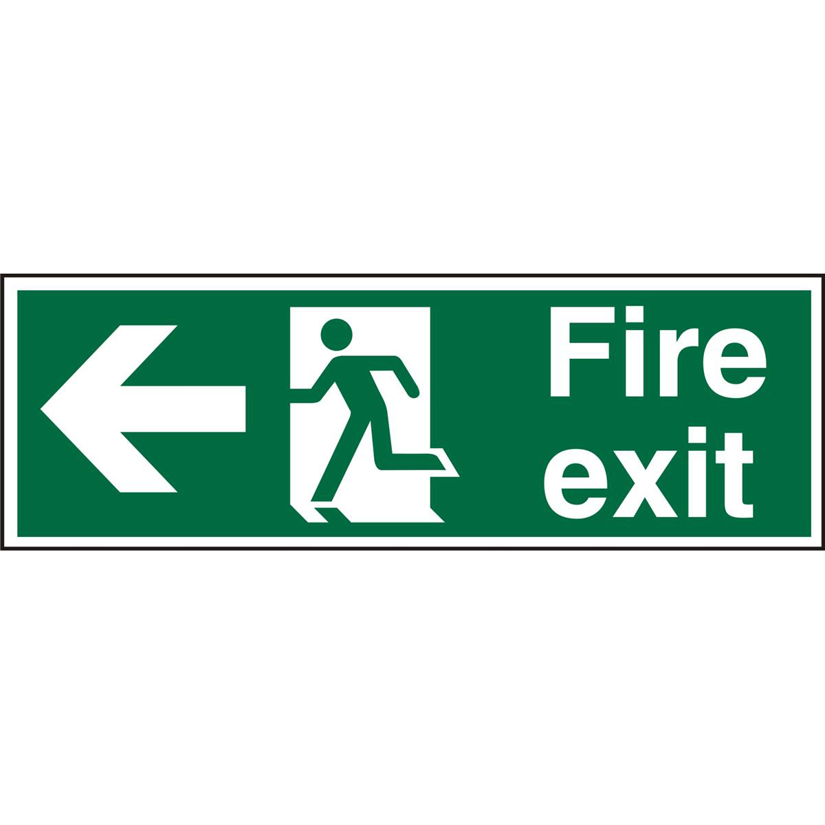 Prestige Sign 2mm DS 300x100 FireExit Man Running &Arrow Left Ref ACSP120300x100 Up to 10 Day Leadtime