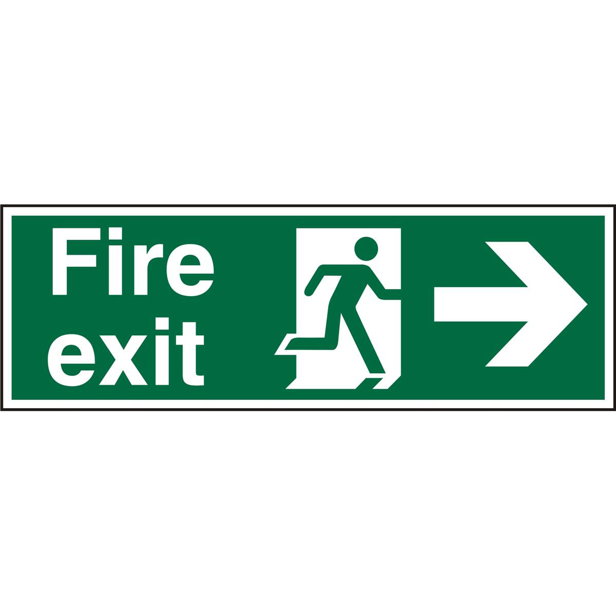 Prestige Sign 2mm DS 300x100 FireExit Man Running&Arrow Right Ref ACSP121300x100 *Up to 10 Day Leadtime*