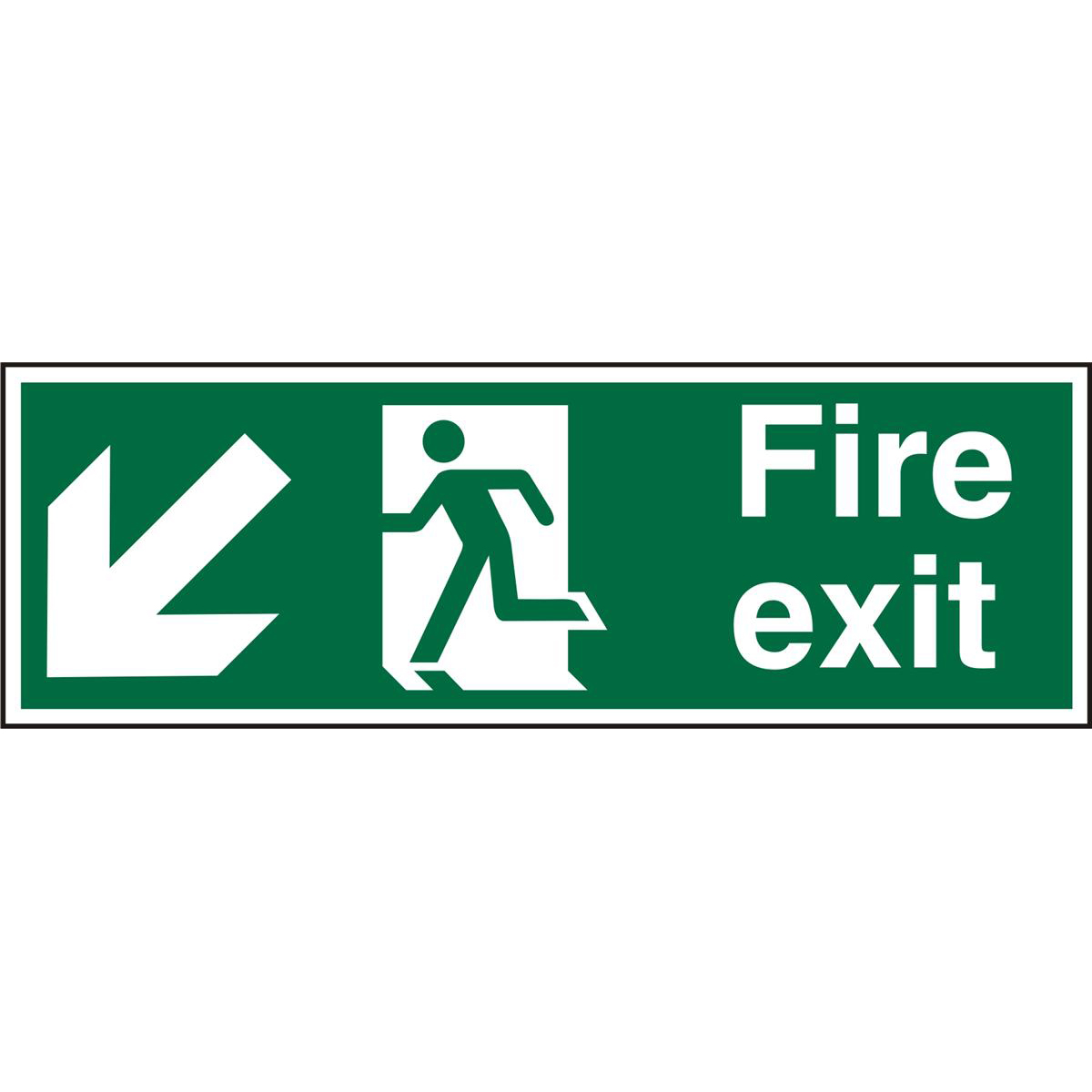 PrestigeSign 2mm DS 300x100 FireExit Man Running LeftArrow Ref ACSP122300x100 Up to 10 Day Leadtime