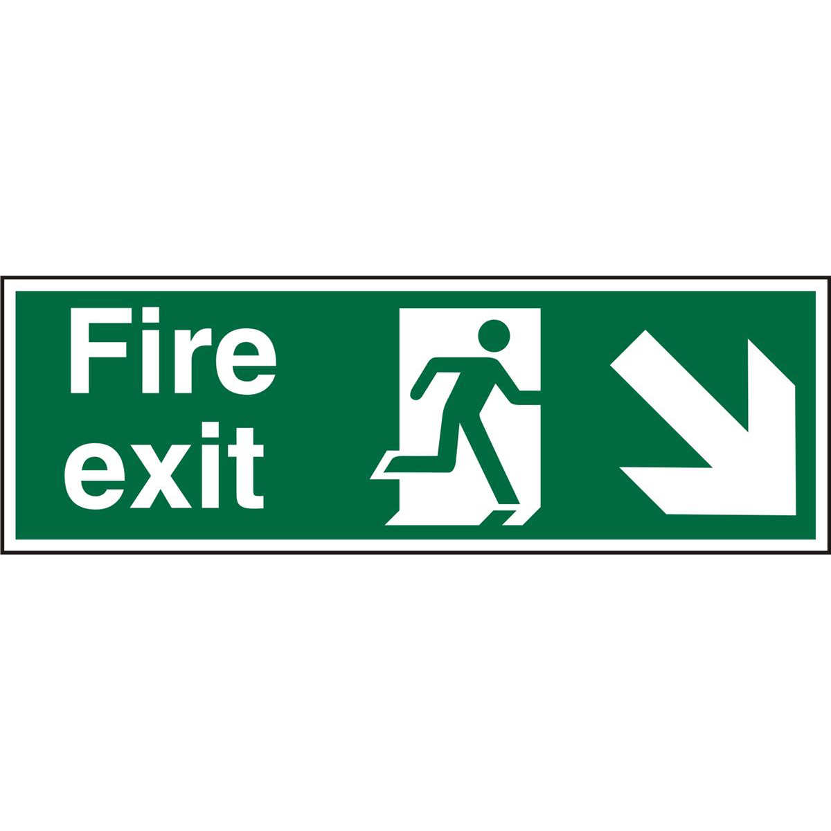 Prestige Sign 2mm DS 300x100 FireExit Man Running Right&Arrow Ref ACSP123300x100 *Up to 10 Day Leadtime*