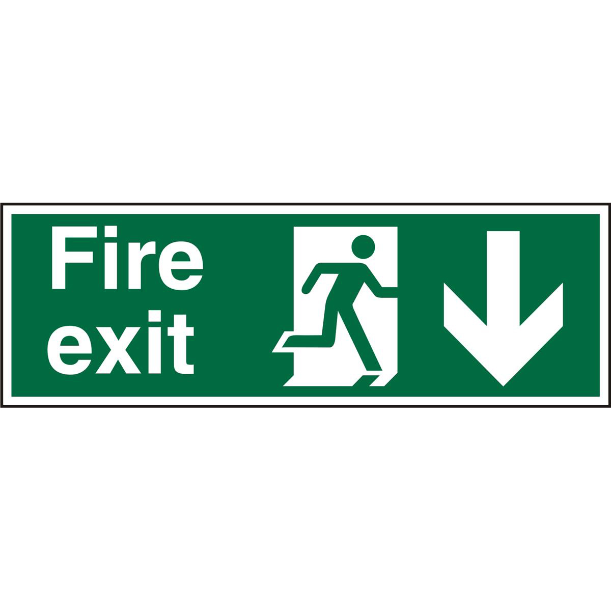 PrestigeSign 2mm 300x100 FireExit Running Right &Arrow Down Ref ACSP124300x100 Up to 10 Day Leadtime