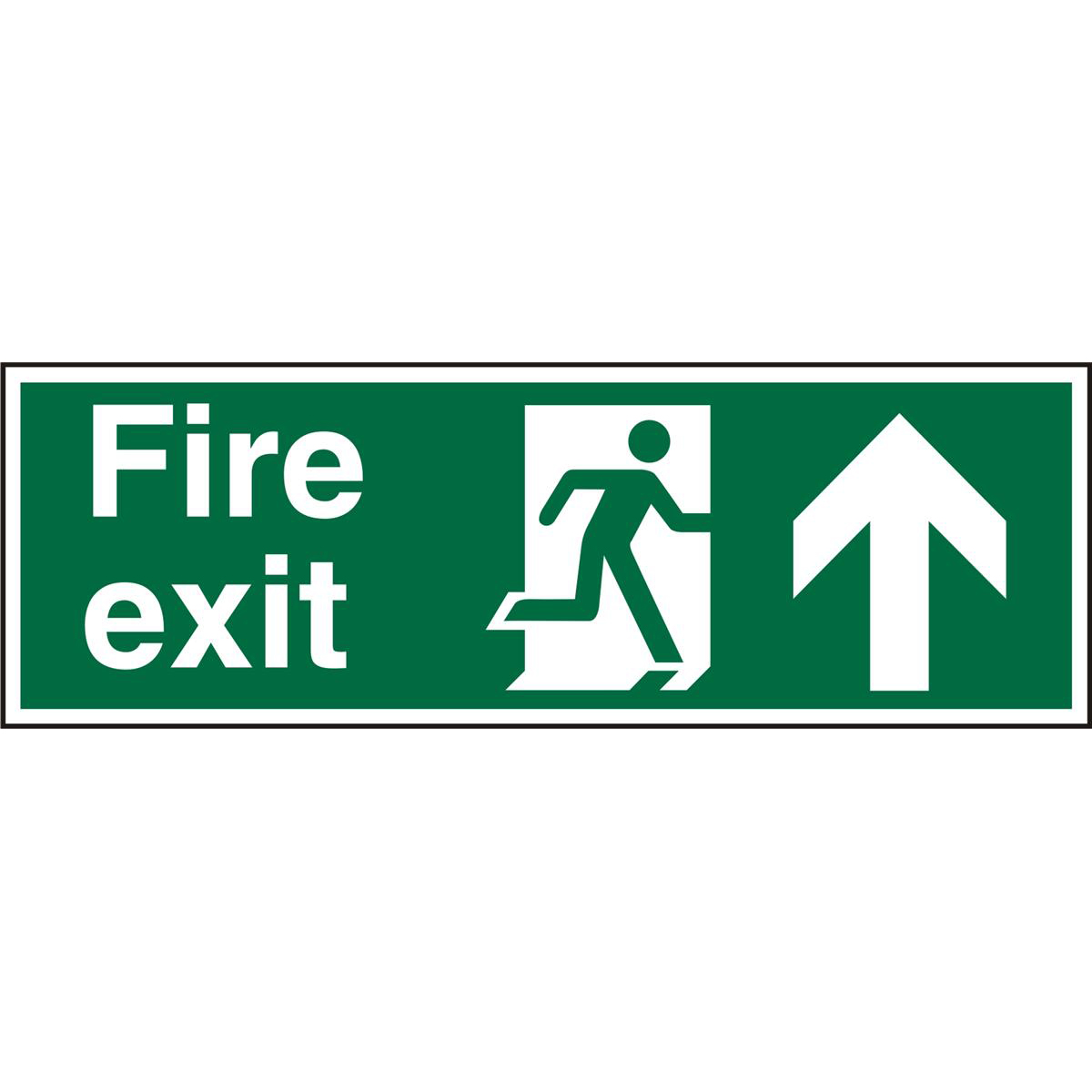 Safety signs PrestigeSgns 2mm 300x100 FireExit Man Running Right&Arrow Up Ref ACSP129300x100 *Up to 10 Day Leadtime*