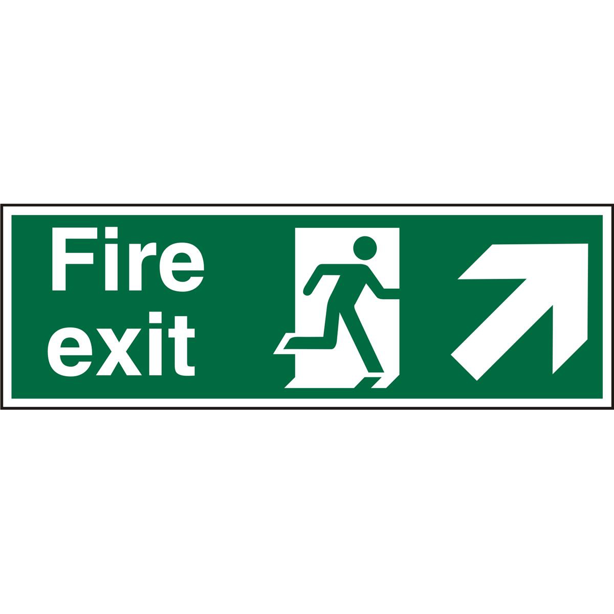 Prestige Sign 2mm DS 300x100 FireExit Man Running Right&Arrow Ref ACSP316300x100 *Up to 10 Day Leadtime*