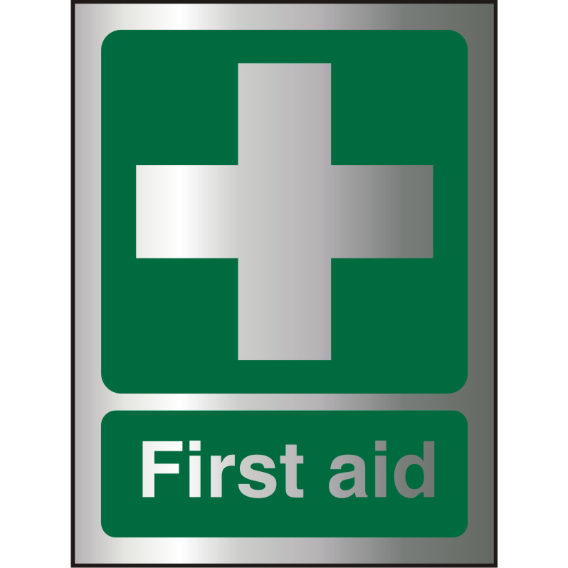 Brushed Aluminium Effect Acrylic Sign 2mm 150x200 First Aid Ref BACSP310-150x200 Up to 10 Day Leadtime