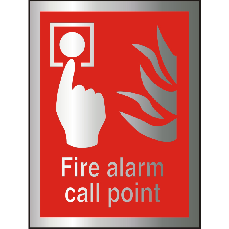 Brushed Alu Comp Sign 150x200 1.5mm S/A Fire Alarm Call Point Ref BAFF073150x200 Up to 10 Day Leadtime