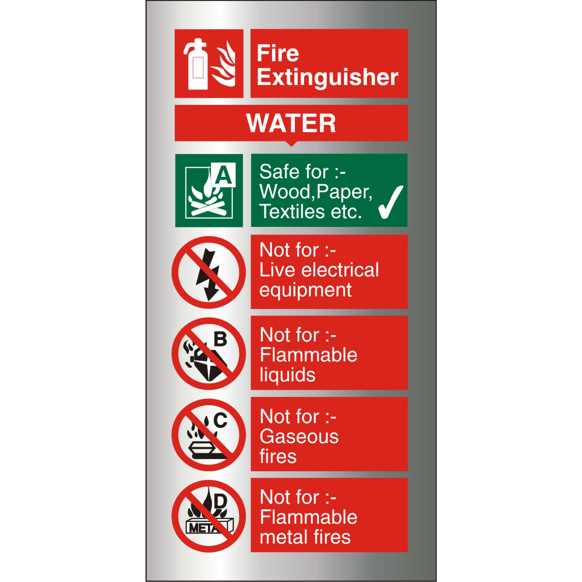 Brushed Alu Comp Sign 100x200 1.5mm S/A Fire ExtinguisherWater Ref BAFF091100x200 Up to 10 Day Leadtime