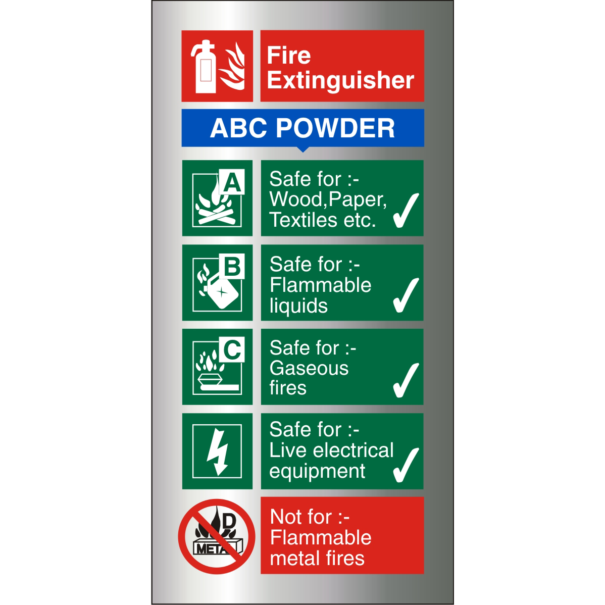 Brushed Alu Sign 100x200 1.5mm S/A FireExtinguisherABC Powder Ref BAFF092100x200 Up to 10 Day Leadtime