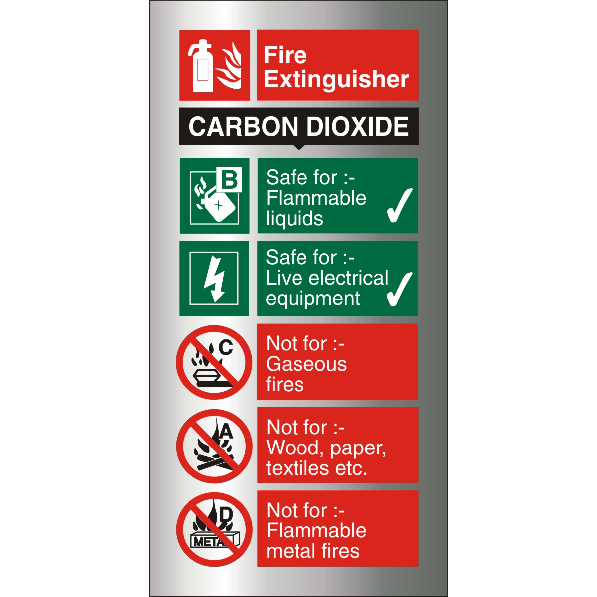 Brushed Alu Comp Sign 100x200 1.5mm S/A Fire Extinguisher CO2 Ref BAFF093100x200 Up to 10 Day Leadtime