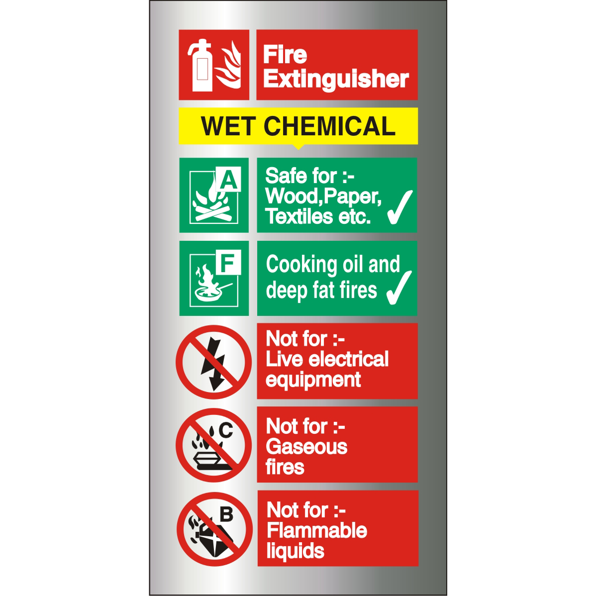Brushed Alu Sign 100x200 1.5mm S/A Fire ExtinguisherWet Chem Ref BAFF100100x200 Up to 10 Day Leadtime