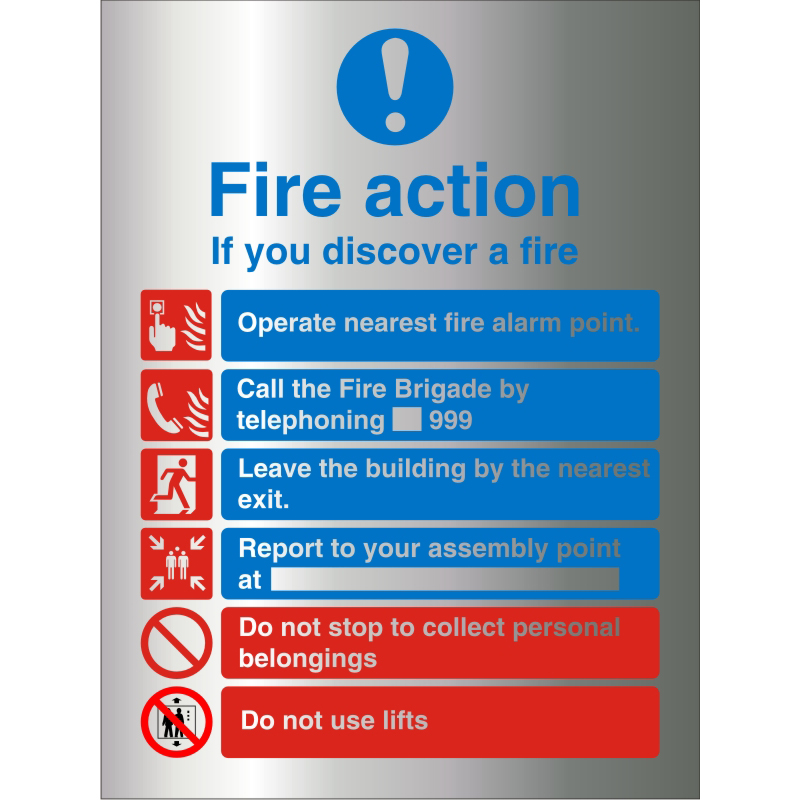 BrushedAlu Sign 210x300 1.5mm S/A Action If You Discover A Fire Ref BAM032210x300 Up to 10 Day Leadtime