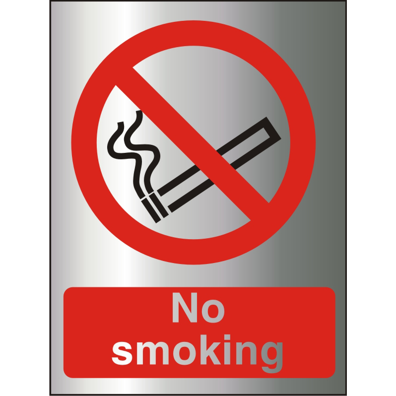 Brushed Alu Comp Sign 150x200 1.5mm Alu S/A backing No Smoking Ref BAP089150x200 Up to 10 Day Leadtime