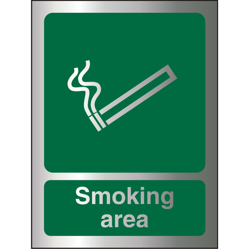 Brushed Alu Comp Sign 150x200 1.5mm Alu S/A Smoking Area Ref BASP050150x200 Up to 10 Day Leadtime