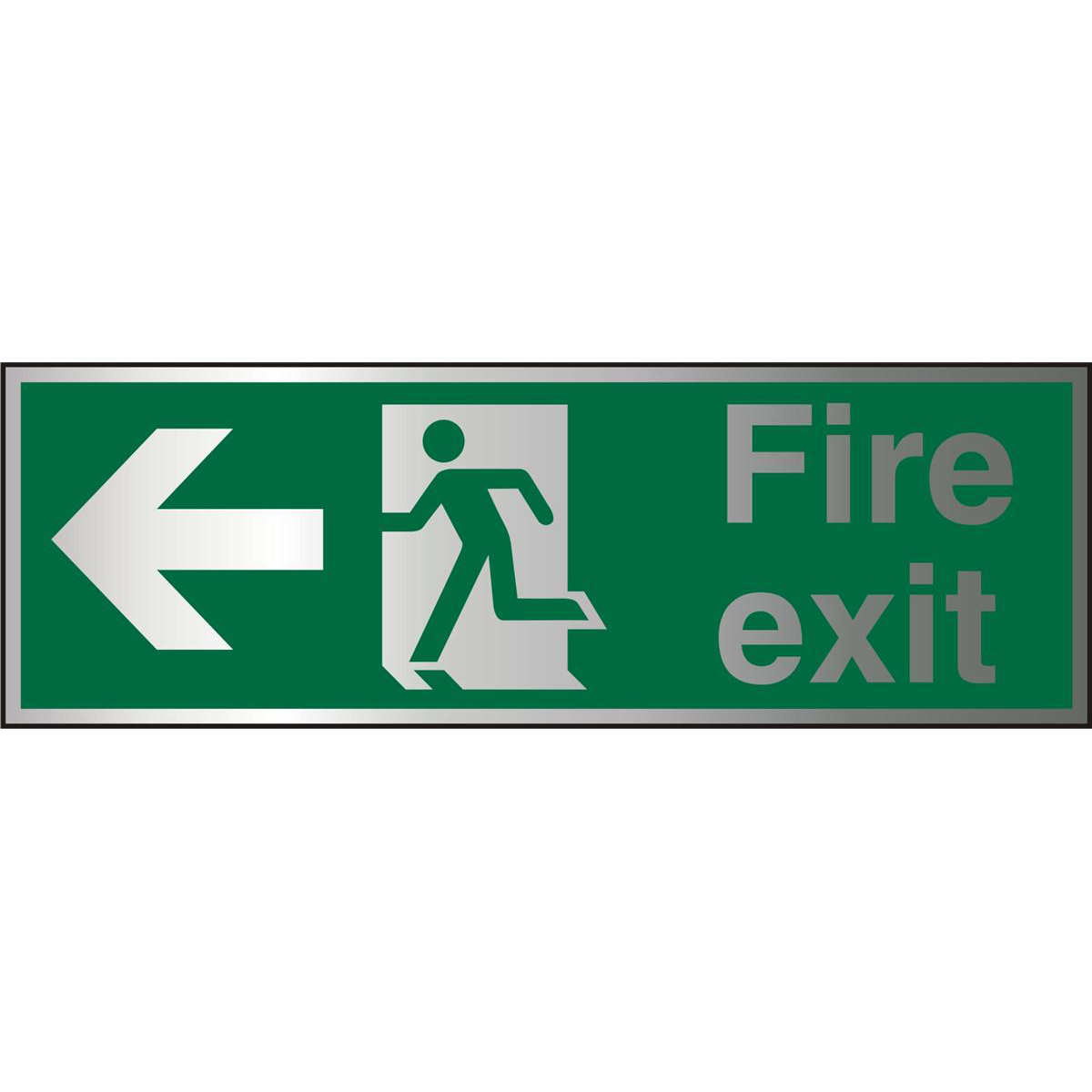 Brushed Alu Sign 1.5mm S/A FireExit Man Running&Arrow Left Ref BASP120450x150 *Up to 10 Day Leadtime*