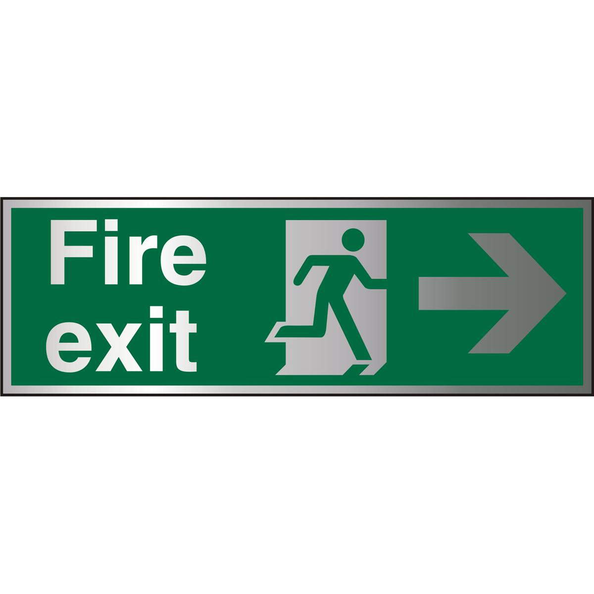 BrushedAlu Sign 1.5mm S/A FireExit Man Rnnng&Arrw Right Ref BASP121*Up to 10 Day Leadtime*