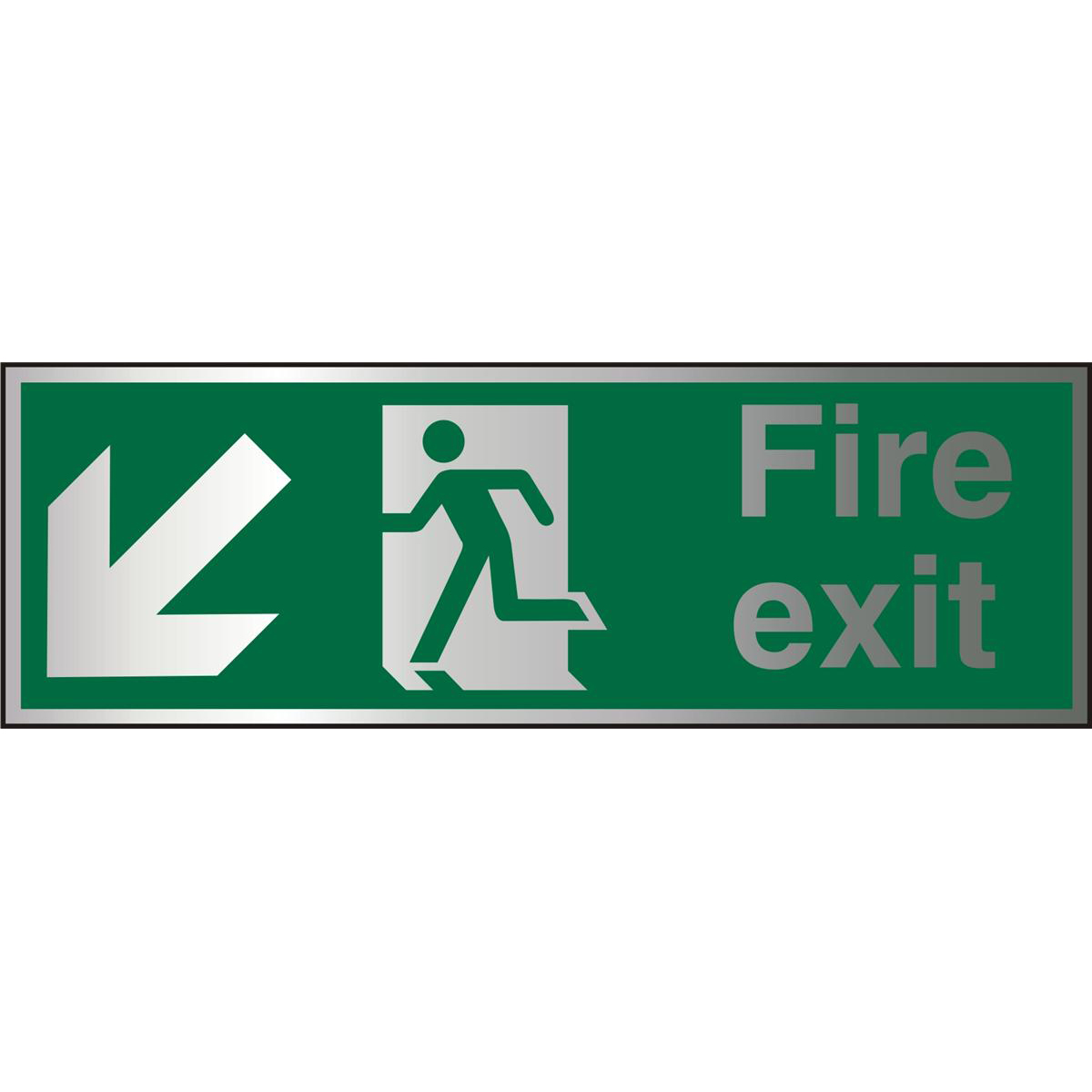 Brushed Alu Sign 1.5mm S/A FireExit Man Run Left&Arrow Ref BASP122*Up to 10 Day Leadtime*
