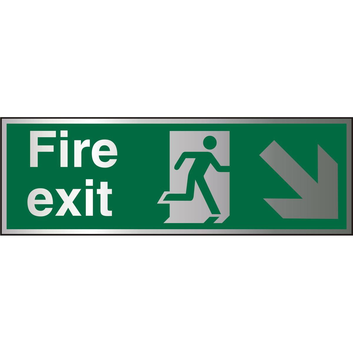 BrushedAlu Sign 1.5mm S/A FireExit Man Run Right&Arrow Ref BASP123Up to 10 Day Leadtime
