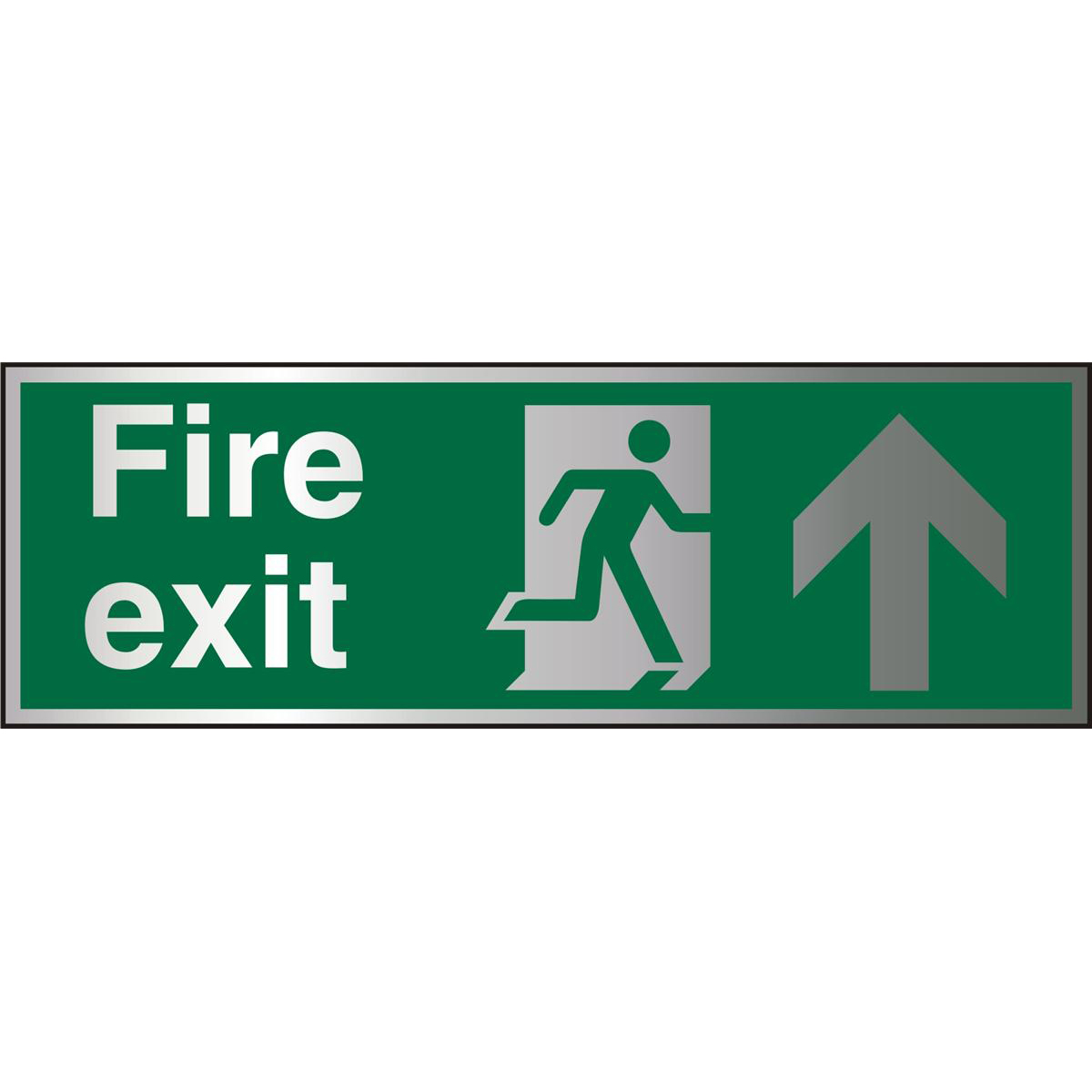 Brushed Alu Sign 1.5mm S/A FireExit Man Run Rght&Arrw Up Ref BASP129Up to 10 Day Leadtime
