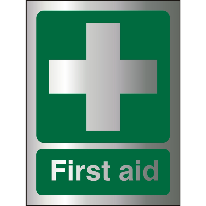 Brushed Alu Comp Sign 150x200 1.5mm Alu S/A backing First Aid Ref BASP310150x200 *Up to 10 Day Leadtime*