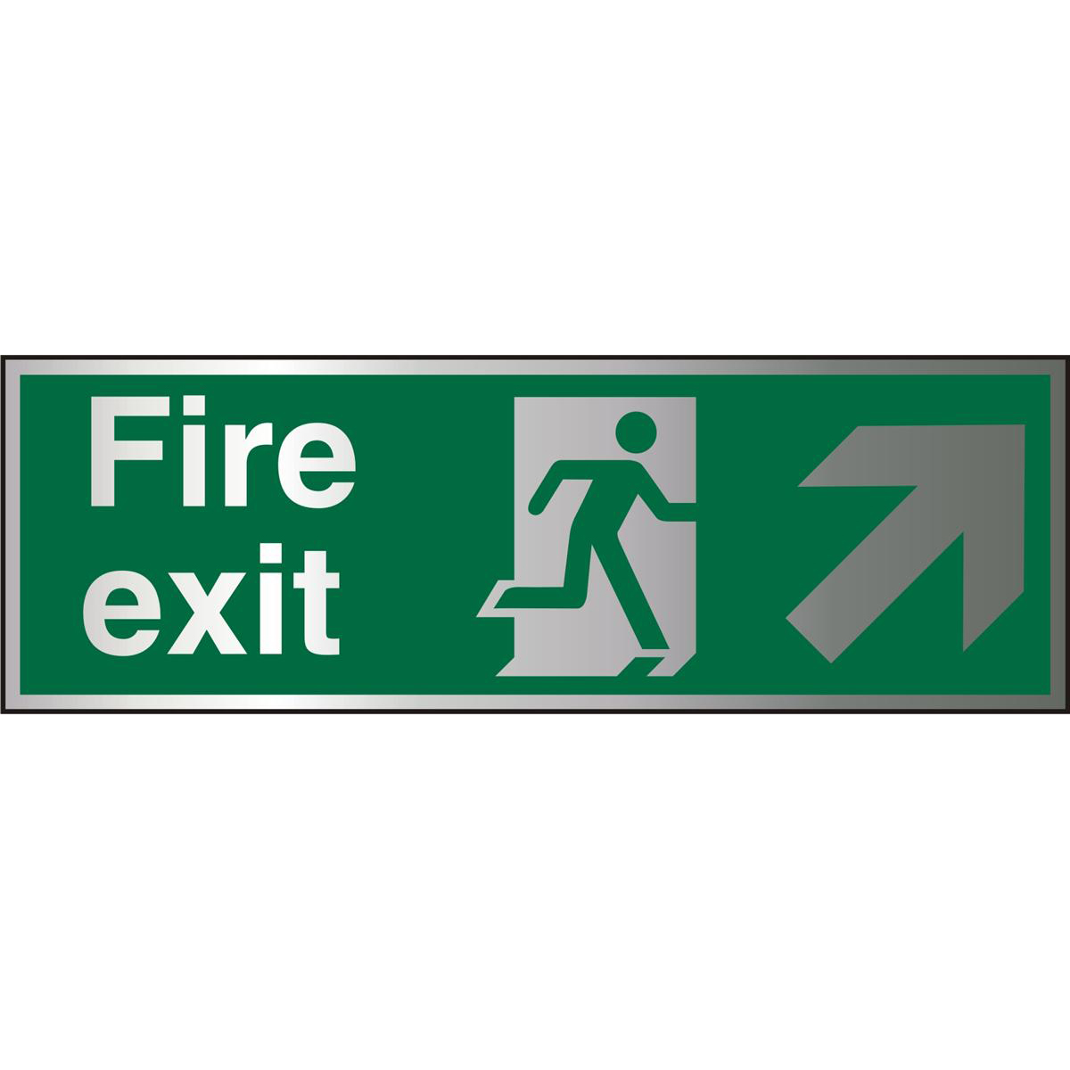 BrushedAlu Sign 1.5mm S/A FireExit Man Run Right&Arrow Ref BASP316Up to 10 Day Leadtime