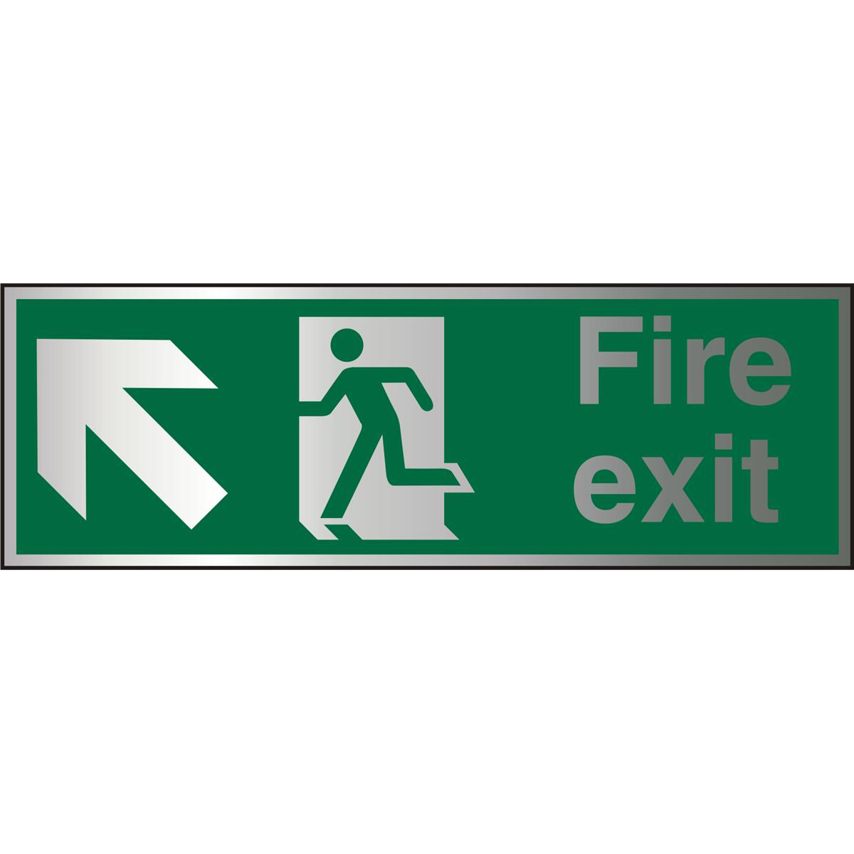 Brushed Alu Sign 1.5mm S/A FireExit Man Run Left&Arrow Ref BASP317Up to 10 Day Leadtime