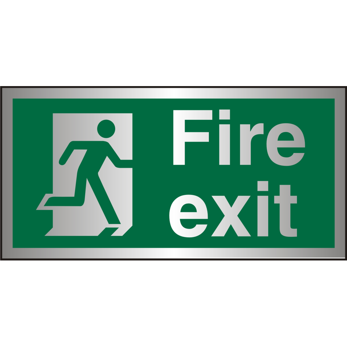Brushed Alu Sign 300x150 1.5mm Alu S/A FireExit Man Run Right Ref BASP318300x150 Up to 10 Day Leadtime