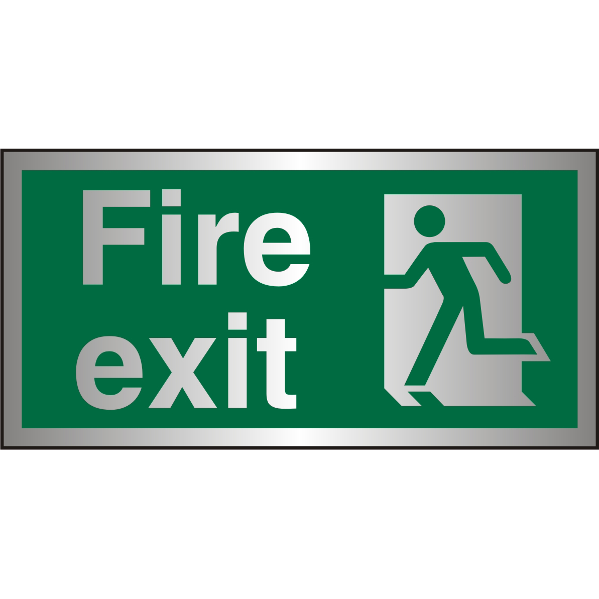 Brushed Alu Sign 300x150 1.5mm S/A FireExit Man Running Left Ref BASP319300x150 Up to 10 Day Leadtime