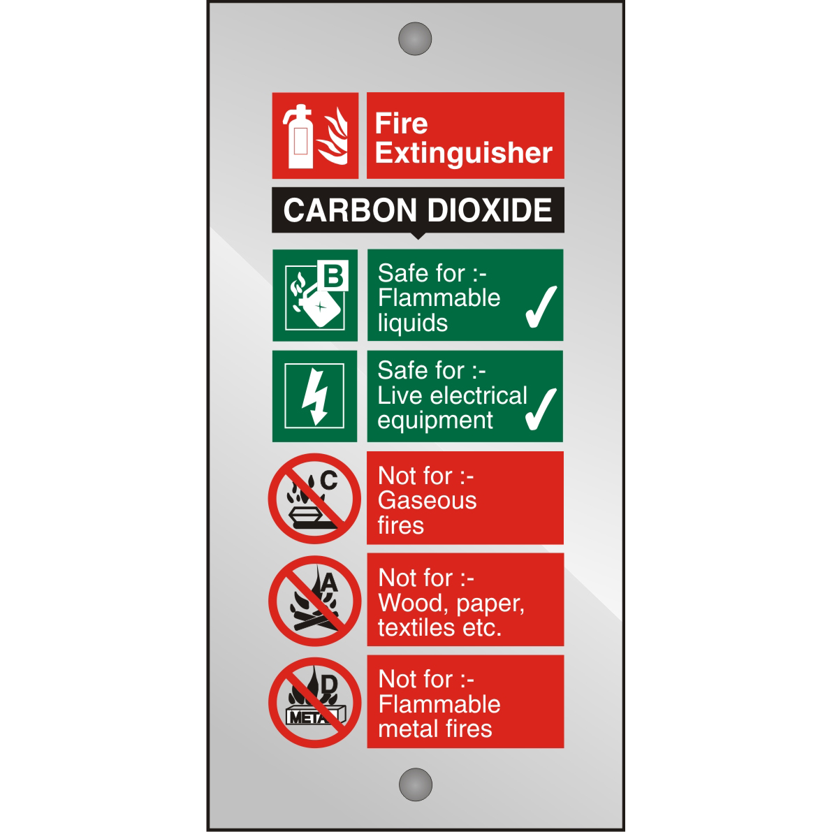 Clear Acrylic Sign 100x200 5mm Fire Extinguisher CO2 Ref CACFF093100x200 Up to 10 Day Leadtime