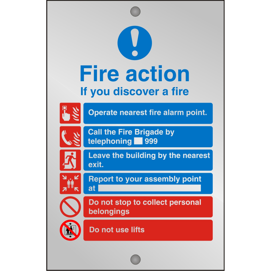 Clear Sign 150x200 5mm Fire Action If You Discover A Fire Ref CACM032150x200 *Up to 10 Day Leadtime*
