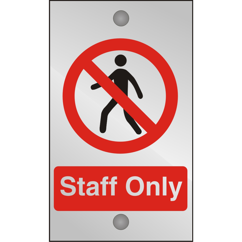 Clear Acrylic Sign 120x200 5mm Acrylic Staff Only Ref CACP085120x200 Up to 10 Day Leadtime