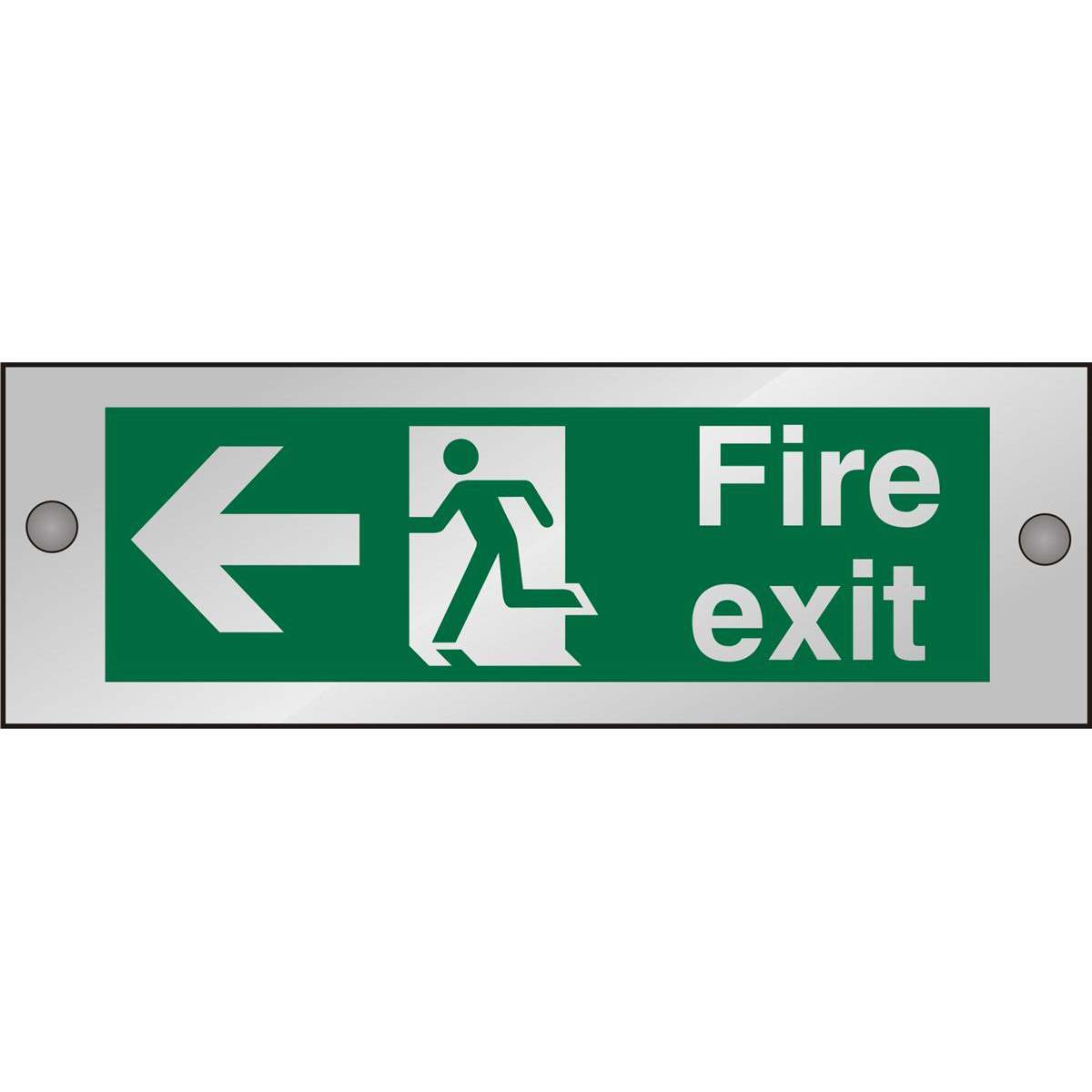 Clear Sign 300x100 5mm FireExit Man Running&Arrow Left Ref CACSP120300x100 Up to 10 Day Leadtime