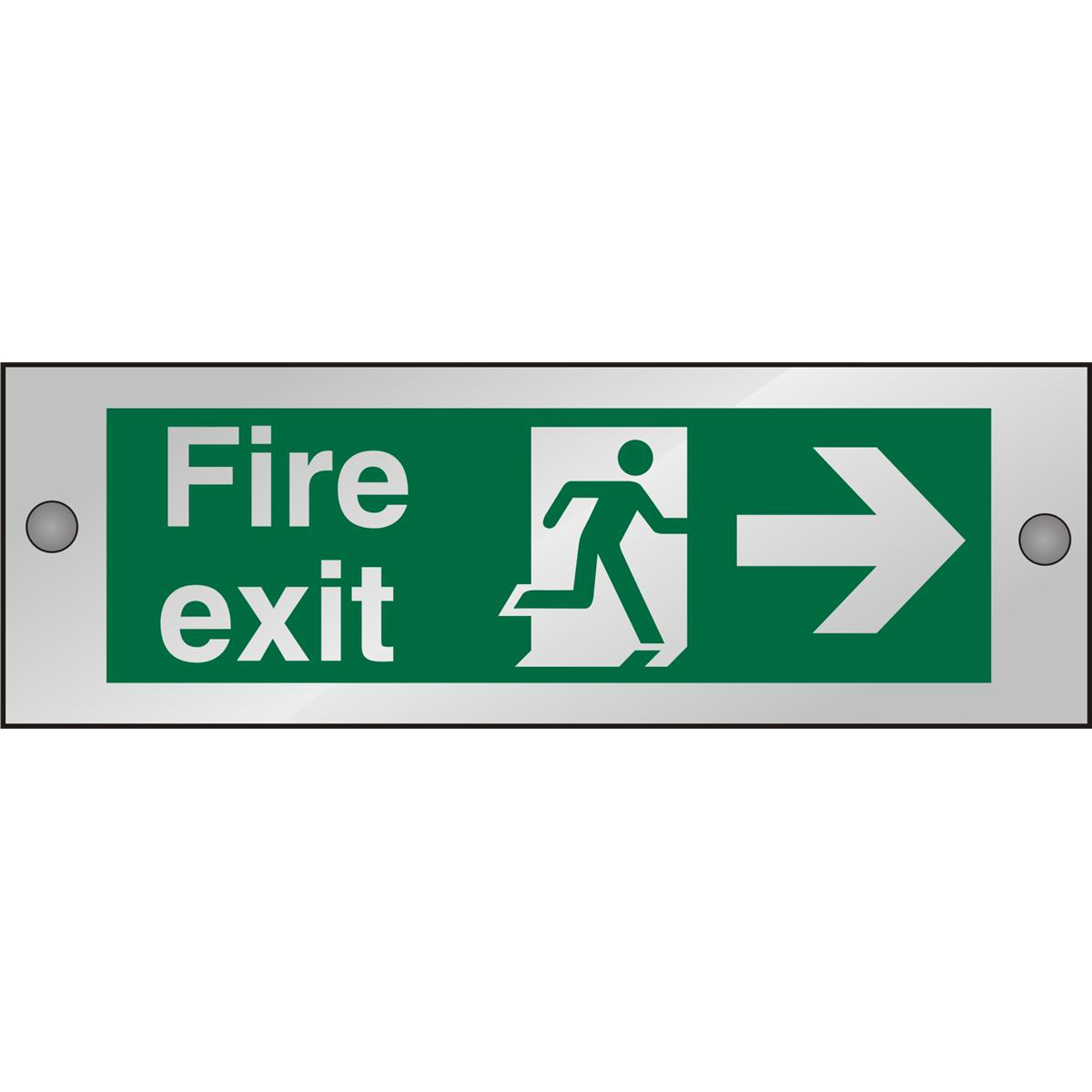 Clear Sign 300x100 5mm FireExit Man Running&Arrow Right Ref CACSP121300x100 Up to 10 Day Leadtime