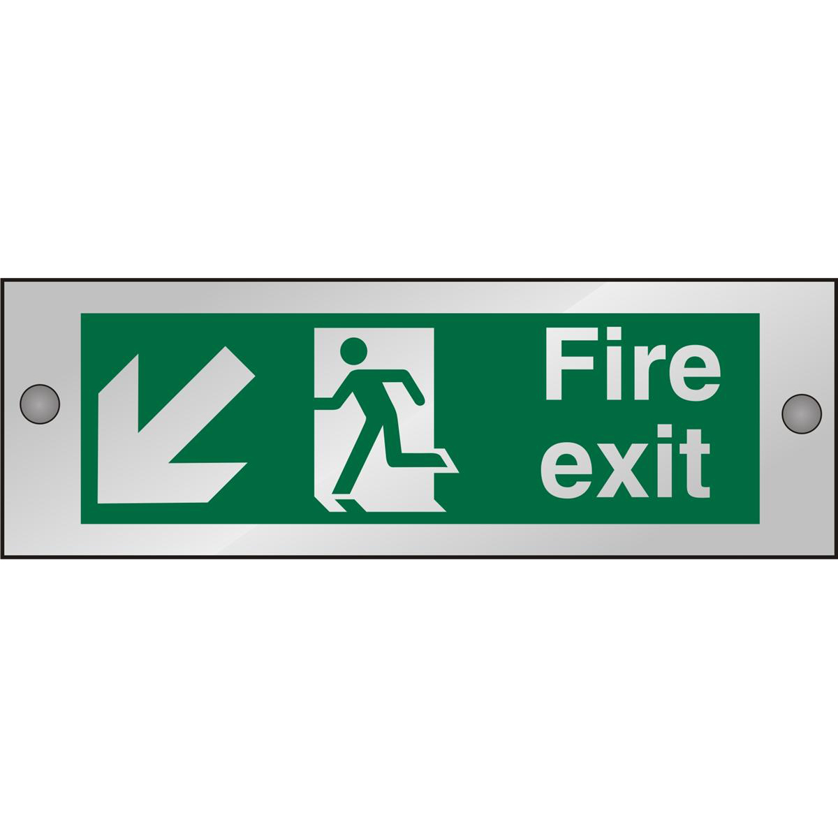Clear Sign 300x100 5mm FireExit Man Running Left&Arrow blhc Ref CACSP122300x100 Up to 10 Day Leadtime