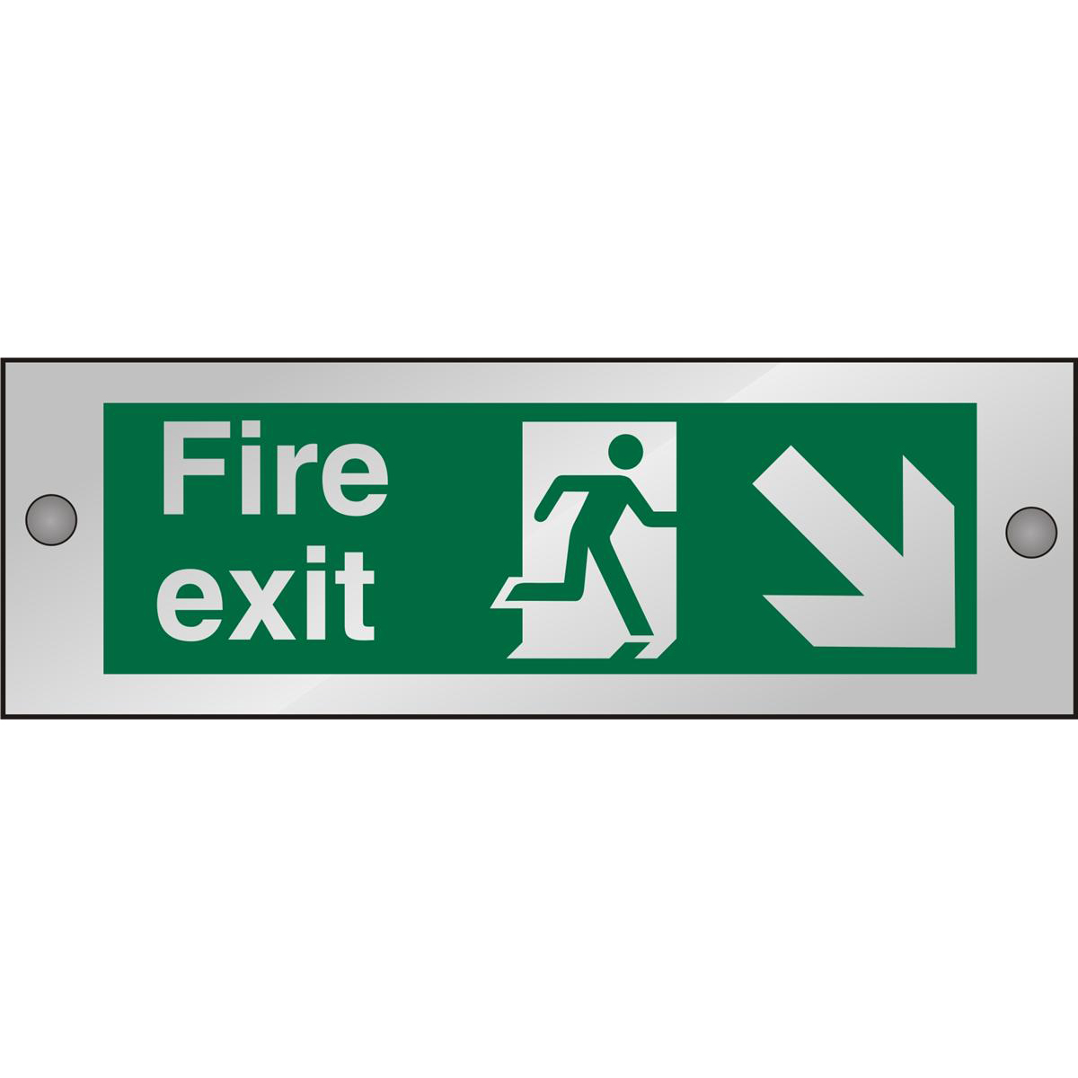 Clear Sign 300x100 5mm FireExit Man Running Right&Arrow brhc Ref CACSP123300x100 Up to 10 Day Leadtime