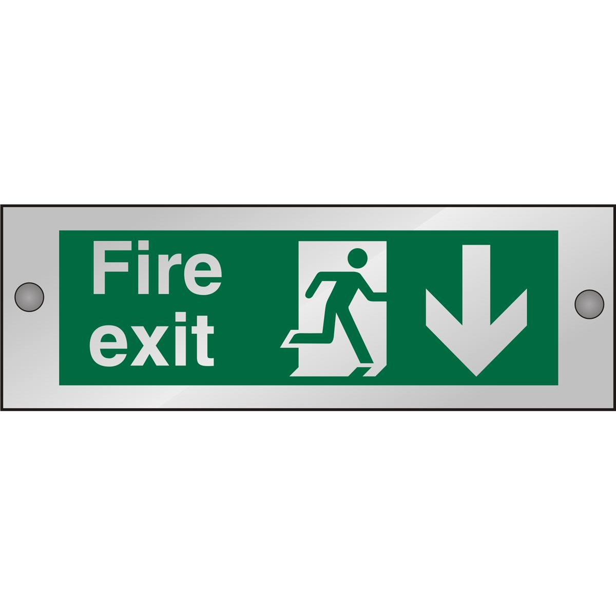 Clear Sign 300x100 5mm FireExit Man Running Right&Arrow Down Ref CACSP124300x100 Up to 10 Day Leadtime
