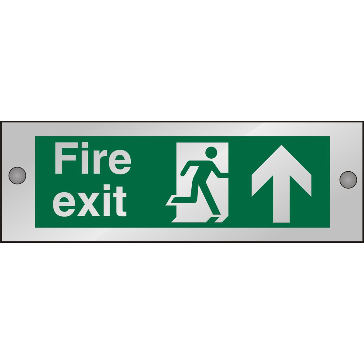 Clear Sign 300x100 5mm FireExit Man Running Right&Arrow Up Ref CACSP129300x100 Up to 10 Day Leadtime