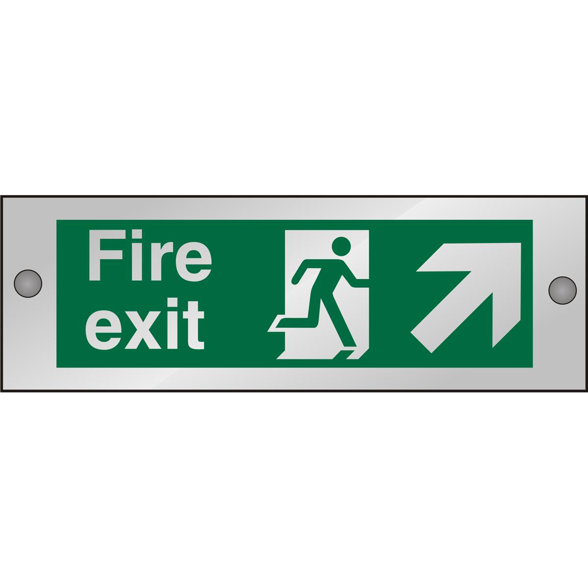 Clear Sign 300x100 5mm FireExit Man Running Right&Arrow trhc Ref CACSP316300x100 Up to 10 Day Leadtime