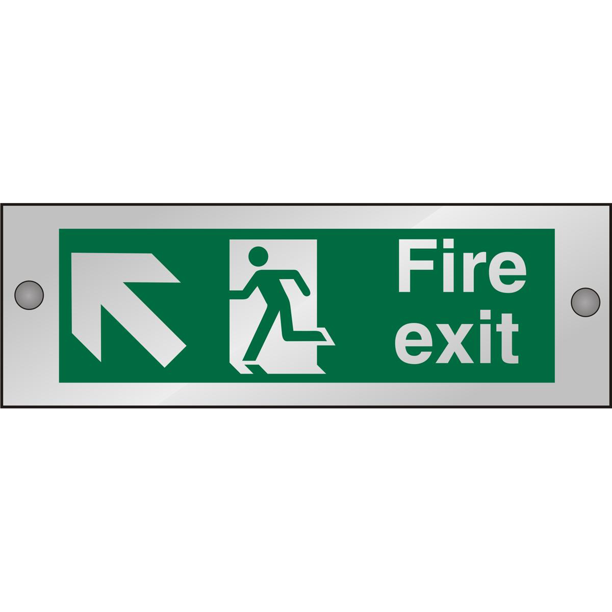 Clear Sign 300x100 5mm FireExit Man Running Left&Arrow tlhc Ref CACSP317300x100 Up to 10 Day Leadtime
