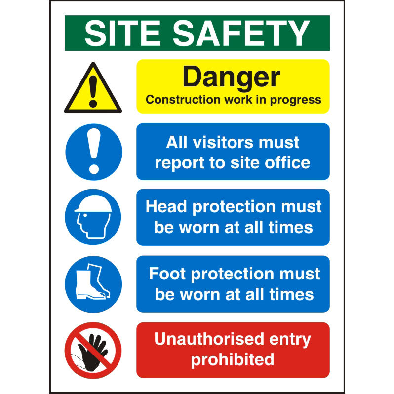 Construction Safety Board 600x800 3mm Foam PVC Safety Ref CON002FB600x800 Up to 10 Day Leadtime