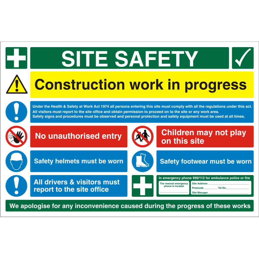 Construction Safety Board 900x600 3mm Foam PVC Safety Ref CON004FB900x600 Up to 10 Day Leadtime