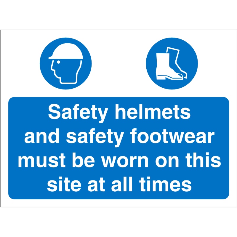 Construction 600x450 4mm Safety Helmets&Shoes Must Be Worn Ref CON011Cx600x450 Up to 10 Day Leadtime