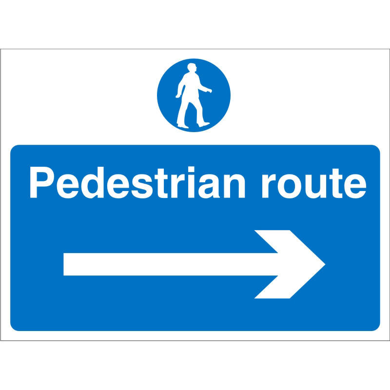 Construction Board 600x450 4mm Pedestrian Route Right Arrow Ref CON013Cx600x450 Up to 10 Day Leadtime
