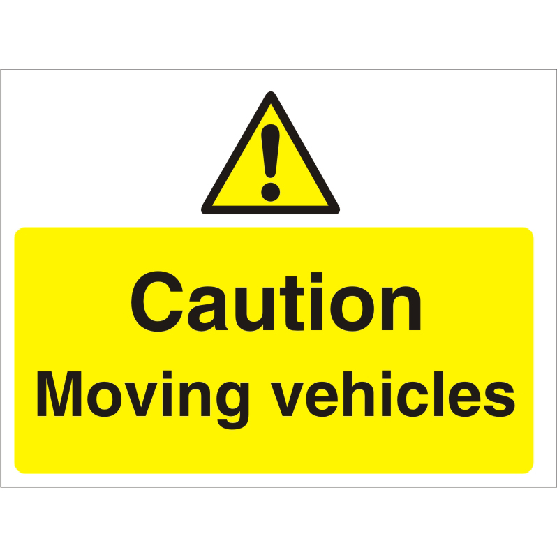 Construction Boar3mmfoam PVC Caution Moving Vehicles Ref CON018FB600x450 Up to 10 Day Leadtime