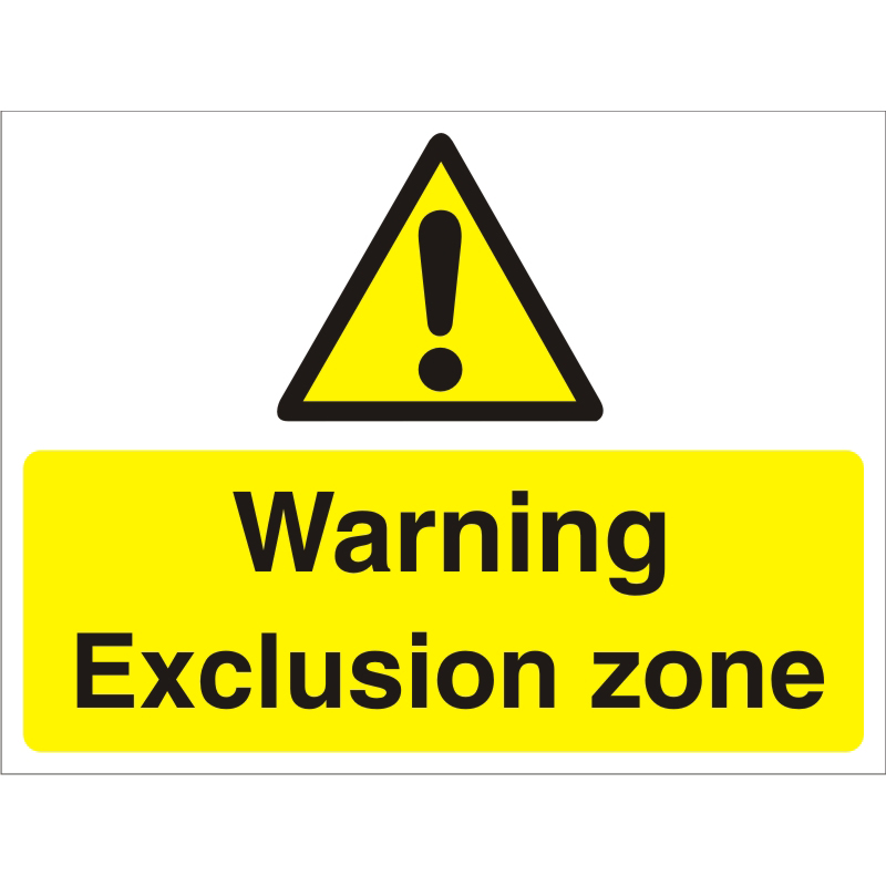 Construction Board 600x450 4mm Fluted Warning Exclusion Zone Ref CON020Cx600x450 Up to 10 Day Leadtime