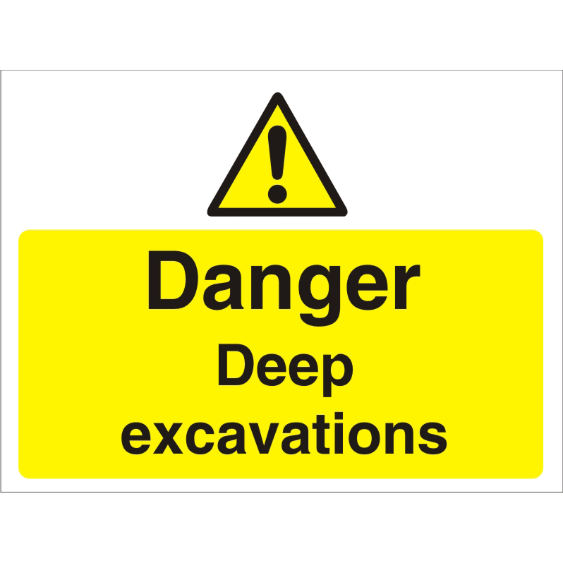 Construction Board 600x450 4mm Fluted Danger Deep Excavations Ref CON021Cx600x450 Up to 10 Day Leadtime