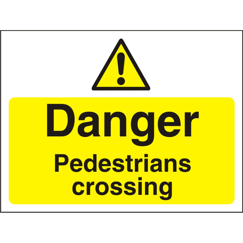 Construction Board 600x450 4mm Danger Pedestrians Crossing Ref CON024Cx600x450 Up to 10 Day Leadtime